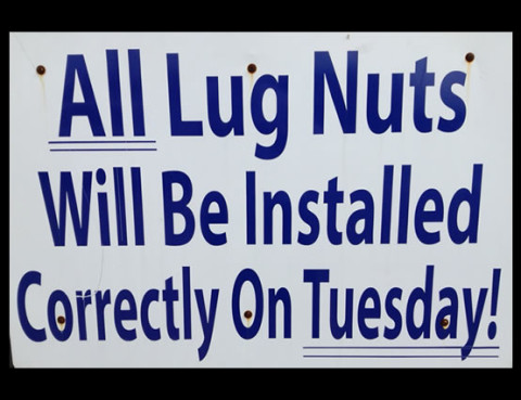lug nuts sign - cagle front end and tire - decatur al